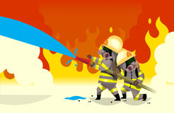 Firefighters at work. Two fireman extinguish fire watering it from hose Royalty Free Stock Images