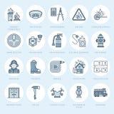 Firefighting, линия значки оборудования пожарной безопасности плоская Пожарный, гаситель пожарной машины, индикатор дыма, дом иллюстрация вектора