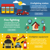 Firefighting banner horizontal set, flat style. Firefighting tools banner horizontal concept set. Flat illustration of 3 firefighting tools vector banner Royalty Free Stock Photography