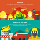 Firefighting Banners Set. Colorful firefighting banners set with forest wildfire and burning building flat isolated vector illustration Royalty Free Stock Photo