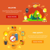 Firefighting Banners Set. Firefighting safety tools and forest windfire horizontal banners set flat isolated vector illustration Stock Image