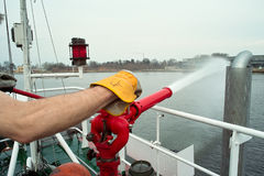 Firefighting boat Stock Image
