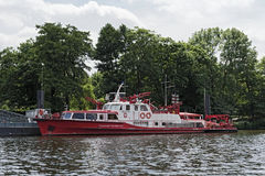 Firefighting boat of the Frankfurt Professional Fire Brigade.  Stock Photo