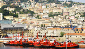 Firefighting boats at the docks of the port. Of Genoa, Italy Royalty Free Stock Images