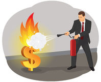 Firefighting a burning dollar. Businessman with an extinguisher is fighting with the burning dollar sign Royalty Free Stock Images