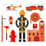 Firefighting character Flat style. Elements for. Firefighting character fire helicopter hose fire station Flat style. Elements for infographic Royalty Free Stock Photos