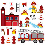 Firefighting characters, hose, fire station, fire engine, fire alarm, extinguisher, axe, and hydrant. Vector cartoon  illustration isolated on white background Stock Image