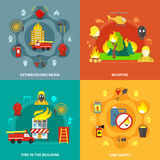 Firefighting 2x2 Concept. Firefighting tools fire safety burning buildings and forest 2x2 concept isolated on colorful backgrounds flat vector illustration Stock Image