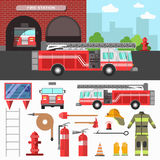 Firefighting department and equipment set. Royalty Free Stock Photo