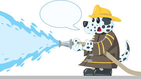 Firefighting Dog. Cute Dalmatian putting out a fire Stock Photo