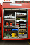 Firefighting equipment. Fire equipment is stored in a car fire Royalty Free Stock Image