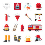 Firefighting equipment flat icons. Firefighting and fire safety equipment flat icons. Light buzzer and fire detector, fire station and hydrant. Vector Royalty Free Stock Photography