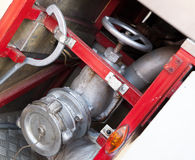 Firefighting equipment on red fire truck Royalty Free Stock Images
