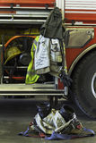 Firefighting equipment and truck Stock Images