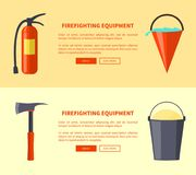 Set of Special Isolated Fire Protection Equipment. Firefighting equipment vector illustartion in flat design fire extinguisher, bucket full of water, sharp axe Stock Images