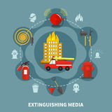 Firefighting Extinguishing Media. Burning building and firefighting extinguishing media concept on grey background flat vector illustration Royalty Free Stock Photo