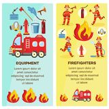 Vector firefighting and equipment concept banner. Firefighting and fequipment concept banners set. Fireman in fire protection uniform extinguishing fire, male Stock Photos
