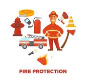 Firefighting and fire protection poster of extinguishing equipment tools. Vector flat icons of firefighter, extinguisher, water hydrant hose and engine car or Stock Image