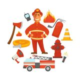 Firefighting and fire protection poster of firefighter extinguishing equipment vector flat icons. Firefighting and fire protection poster of extinguishing Stock Image