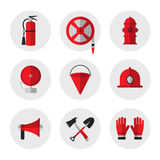 Firefighting and fire safety equipment flat icons. Fire extinguisher, hose reel, hydrant, ringing alarm bell, metal fire bucket, h. Elmet, megaphone, shovel and Royalty Free Stock Photo