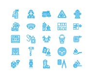Firefighting, fire safety equipment flat line icons. Firefighter car, extinguisher, smoke detector, house, danger signs. Firehose. Flame protection thin linear Royalty Free Stock Photos