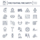 Firefighting, fire safety equipment flat line icons. Firefighter, fire engine extinguisher, smoke detector, house. Danger signs, firehose. Flame protection Stock Photos