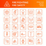 Firefighting, fire safety equipment flat line icons. Firefighter, fire engine, extinguisher, smoke detector, house. Firefighting, fire safety equipment flat line Royalty Free Stock Photography