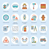 Firefighting, fire safety equipment flat line icons. Firefighter, fire engine extinguisher, smoke detector, house. Danger signs, firehose. Flame protection royalty free illustration