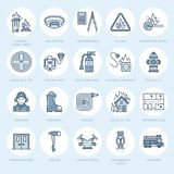 Firefighting, fire safety equipment flat line icons. Firefighter, fire engine extinguisher, smoke detector, house. Danger signs, firehose. Flame protection vector illustration