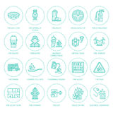 Firefighting, fire safety equipment flat line icons. Firefighter, fire engine extinguisher, smoke detector, house. Danger signs, firehose. Flame protection Stock Image