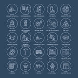 Firefighting, fire safety equipment flat line icons. Firefighter, fire engine extinguisher, smoke detector, house. Danger signs, firehose. Flame protection Royalty Free Stock Photo