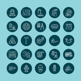 Firefighting, fire safety equipment flat line icons. Firefighter, fire engine extinguisher, smoke detector, house Royalty Free Stock Images
