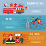 Firefighting or fire safety vector banners. Fire extinguishing or firefighting vector banners set of fire engine truck with ladder, extinguisher spade and Royalty Free Stock Photo