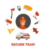 Firefighting and fire secure team poster of firefighter extinguishing equipment vector flat icons. Firefighting secure team poster of fire protection and Royalty Free Stock Photo