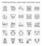 Firefighting system icon. Firefighting and fire system icon set Royalty Free Stock Photo