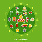 Firefighting Flat Concept. Flat design concept with various firefighting icons on green background vector illustration Stock Image
