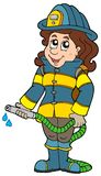 Firefighting girl. On white background -  illustration Royalty Free Stock Images