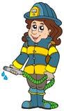 Firefighting girl. On white background - illustration stock illustration