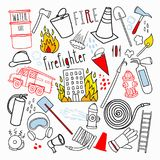 Firefighting Hand Drawn Doodle. Firefighter, Fireman, Emergency Elements Set Stock Images
