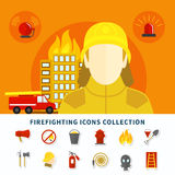 Firefighting Icons Collection. Burning building fireman and firefighting icons collection on white background flat isolated vector illustration Royalty Free Stock Photography