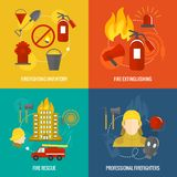 Firefighting icons composition. Firefighting icons  inventory extinguishing fire rescue professional composition isolated vector illustration Royalty Free Stock Photos