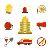 Firefighting icons flat. Set of burning building fire alarm water hose isolated vector illustration Stock Image