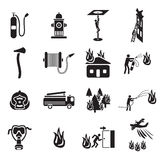 Firefighting icons set. 
