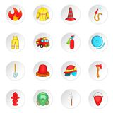 Firefighting icons set, cartoon style. Firefighting icons set. Cartoon illustration of 16 firefighting vector icons for web Royalty Free Stock Images