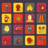 Firefighting icons set. Of flame water hose mask and helmet isolated vector illustration Royalty Free Stock Image