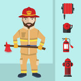Firefighting and icons set inventory extinguishing fire rescue professional composition. Firefighting and icons set inventory extinguishing fire rescue Royalty Free Stock Image