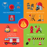 Firefighting inventory concepts. Firefighting inventory and fire rescue concepts. Business and house fire safety vector illustration Royalty Free Stock Photo