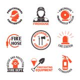 Firefighting label set. Firefighting professional firehouse immediately rescue label set isolated vector illustration Stock Photography