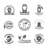 Firefighting label set. Firefighting rescue and protection fire department firehouse extinguisher label set isolated vector illustration Stock Photos
