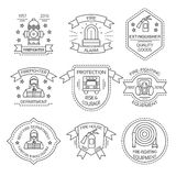 Firefighting Linear Emblems. Of departments and shops with man equipment ribbons stars  vector illustration Stock Image